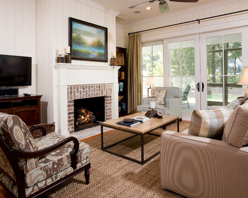 Transitional Living Room Photo In Charleston With A Brick Fireplace