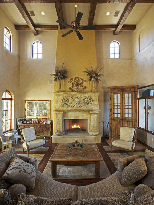 Example Of A Tuscan Living Room Design In Austin