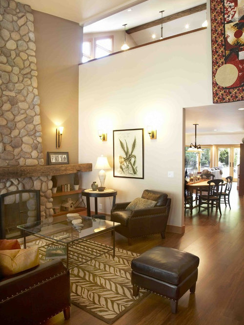 inspiration for a mid sized farmhouse open concept bamboo floor living room remodel in san - Bamboo Living Room Decor