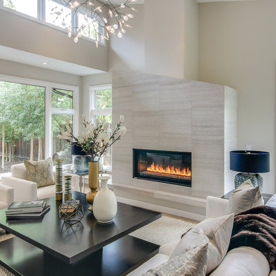 Inspiration for a large contemporary formal and enclosed light wood floor and beige floor living room remodel in San Francisco with beige walls, a tile fireplace, a ribbon fireplace and no tv