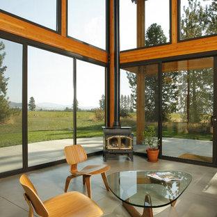 Ejemplo de salón minimalista con suelo de cemento y estufa de leña