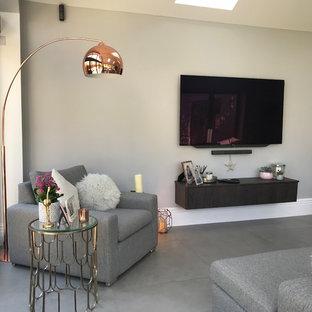 Diseño de salón abierto, minimalista, pequeño, con paredes grises, suelo de baldosas de porcelana, televisor colgado en la pared y suelo gris