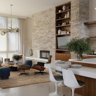 Example of a trendy open concept beige floor living room design in Seattle with beige walls, a ribbon fireplace, a stone fireplace and a wall-mounted tv