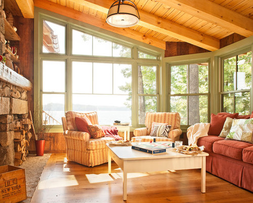 Example Of A Mountain Style Medium Tone Wood Floor Living Room Design In Portland Maine With