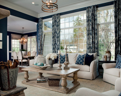 Traditional Open Concept Living Room Idea In Other With Blue Walls