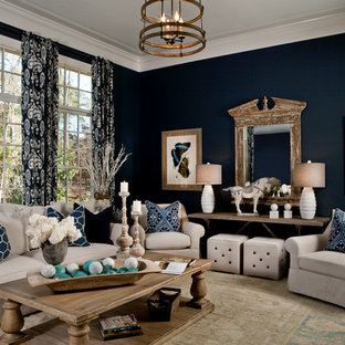Living room - transitional open concept living room idea in Other with blue walls
