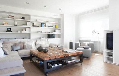 En detalle: Un salón que juega con el gris, el blanco y la madera