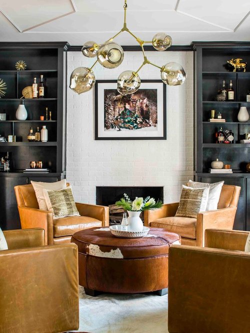 trendy living room designs. Trendy formal brown floor living room photo in Atlanta with a standard  fireplace and brick Top 30 Contemporary Living Room Ideas Designs Houzz