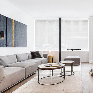 Aménagement d'un grand salon avec une bibliothèque ou un coin lecture contemporain fermé avec un mur blanc, un sol en bois clair, aucune cheminée et aucun téléviseur.
