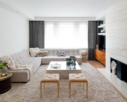 l shaped couch living room ideas. Contemporary medium tone wood floor living room idea in New York with a  stone fireplace and L Shaped Couch Houzz