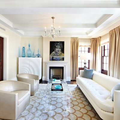 Large transitional formal and enclosed dark wood floor and brown floor living room photo in New York with beige walls, a standard fireplace, a wood fireplace surround and no tv