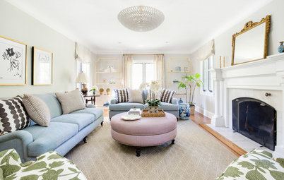 Updated Fabrics and New Pieces Beautify a Traditional Family Room