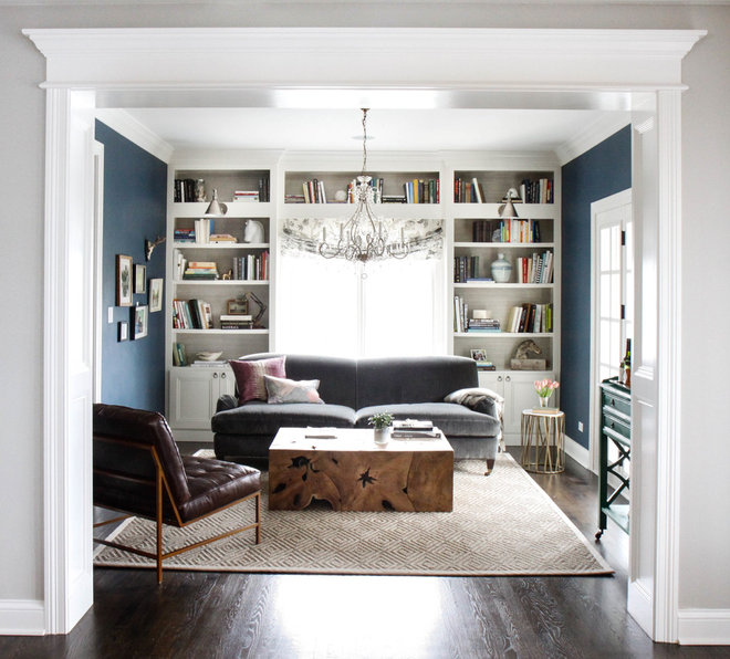 Transitional Living Room by Park and Oak Design