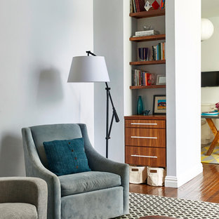 Large transitional open concept medium tone wood floor living room library photo in New York with white walls, no fireplace and no tv