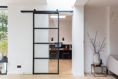 sliding barn door hardware kit for single wood doors with fittings black