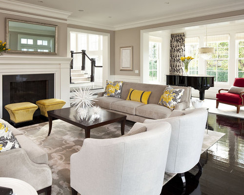 815 Transitional Living Room Design Photos With A Music Area