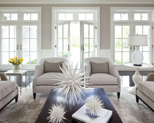 Huge Elegant Formal And Open Concept Living Room Photo In Minneapolis With Gray Walls