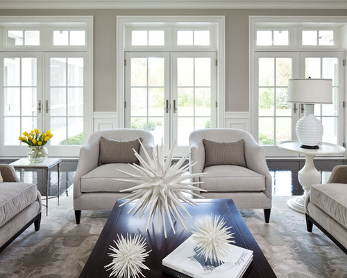 Huge Transitional Formal And Open Concept Living Room Idea In Minneapolis With Gray Walls