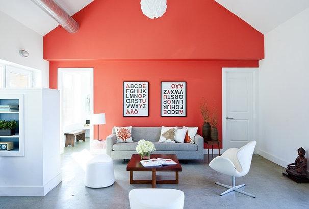 Farmhouse Living Room by ZeroEnergy Design