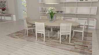 Patchwork Cowhide Rug Stripes Design in White, Gray and Beige