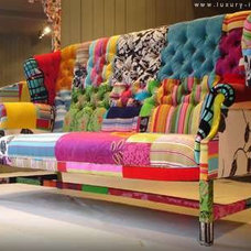 Eclectic Living Room patchwork sofa