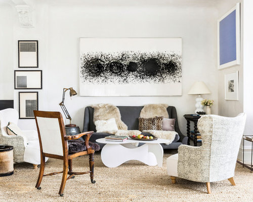 Mid Sized Eclectic Formal And Open Concept Beige Floor Living Room Photo In New York