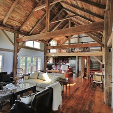 Traditional Living Room by Green Mountain Timber Frames
