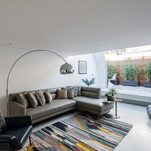 Cette photo montre un salon moderne de taille moyenne avec un mur blanc, un sol en linoléum et un sol gris.