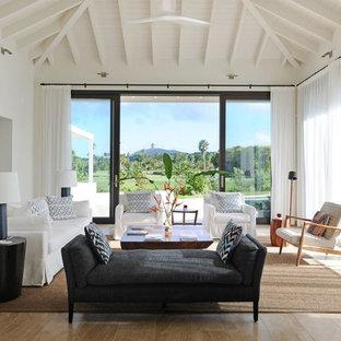 Foto di un grande soggiorno tropicale aperto con pareti bianche e pavimento in legno massello medio