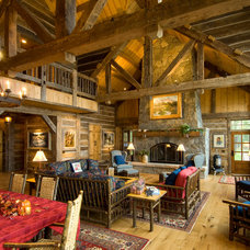 Traditional Living Room by Big Wood Timber Frames, Inc.