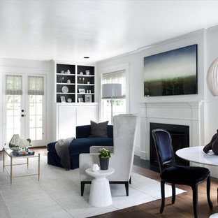 Inspiration for a timeless living room remodel in Austin with white walls