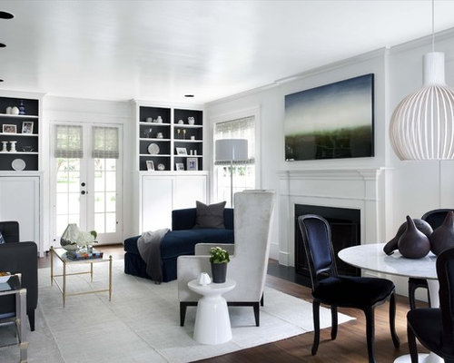 inspiration for a timeless living room remodel in austin with white walls - Black And White Living Room Decor