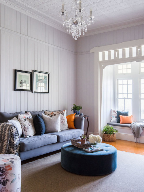 design ideas for a large traditional formal enclosed living room in brisbane with purple walls and - Living Room Design Traditional
