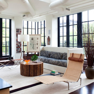 Large trendy open concept dark wood floor and brown floor living room photo in DC Metro with white walls, a two-sided fireplace, a wood fireplace surround and a media wall