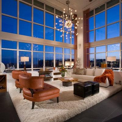 Minimalist concrete floor living room photo in Orange County
