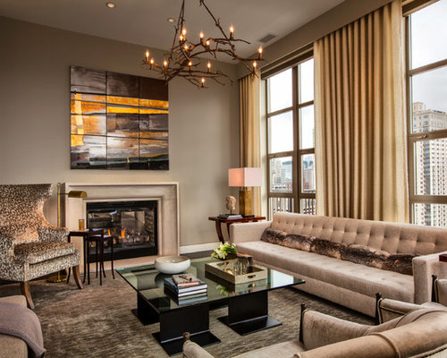Example Of A Trendy Formal Dark Wood Floor And Gray Living Room Design In Chicago