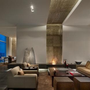 Geräumiges, Repräsentatives Modernes Wohnzimmer mit weißer Wandfarbe in Philadelphia