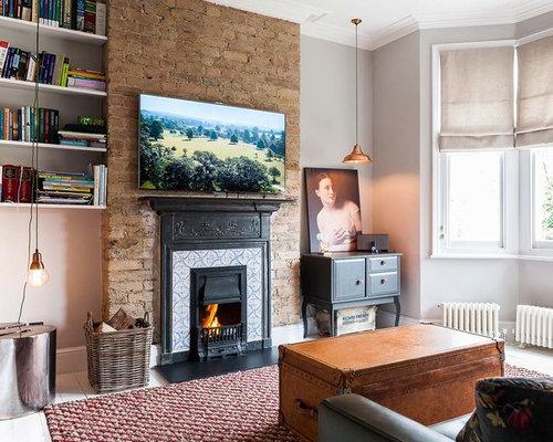 Ideas para salones dise os de salones con marco de chimenea de baldosas y o azulejos y suelo - Marco de chimenea ...