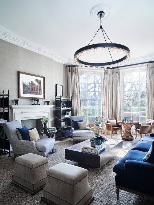 Living room design ideas remodels photos for Navy blue and cream living room ideas