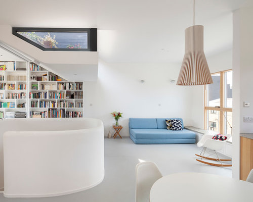 mid sized contemporary open concept living room idea in london with white walls and vinyl - Linoleum Living Room Decor