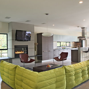 Merveilleux Living Room   Contemporary Concrete Floor Living Room Idea In Seattle