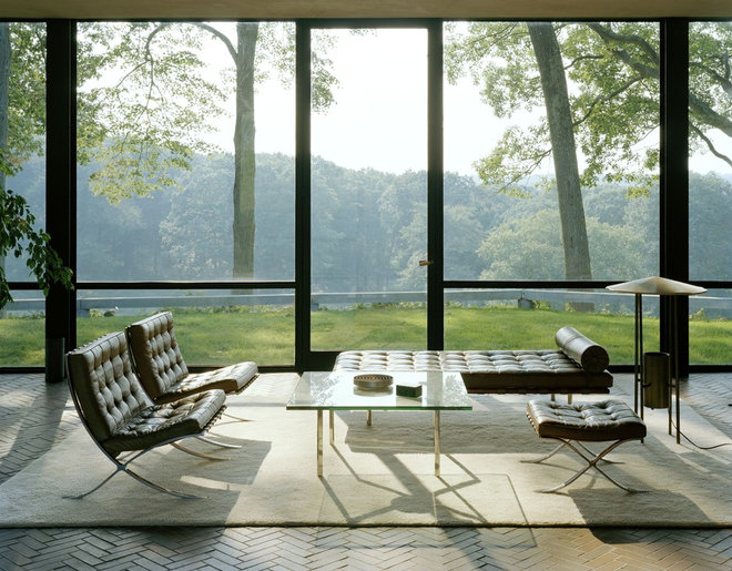 Modern Living Room by The Philip Johnson Glass House