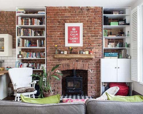 klassische wohnzimmer mit kaminofen ideen design houzz. Black Bedroom Furniture Sets. Home Design Ideas