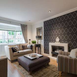 Living room - contemporary living room idea in Buckinghamshire with multicolored walls