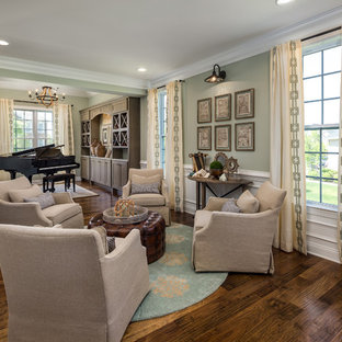 transitional formal dark wood floor and brown floor living room photo in dc metro with green - Formal Living Room Ideas