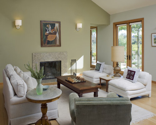 Benjamin moore fernwood green 2145 40 houzz for Green and beige living room ideas