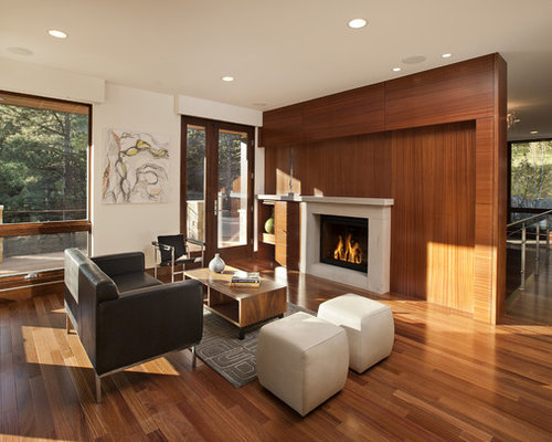Inspiration For A Modern Open Concept Living Room Remodel In Denver With A  Standard Fireplace
