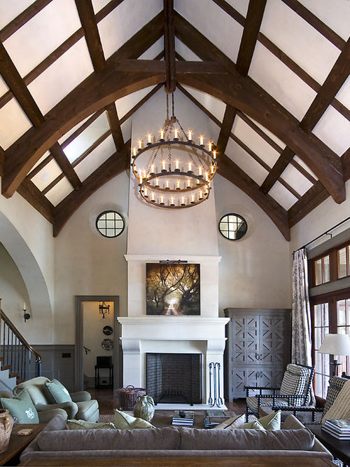 mid sized transitional formal and open concept dark wood floor living room photo in other - Paul Ferrante Chandelier