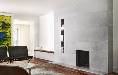 Concrete Panels Create a Stylish Modern Fireplace