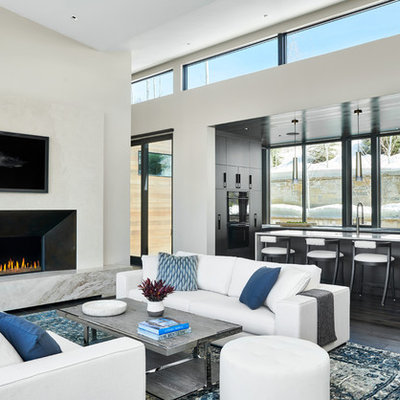 Living room - mid-sized contemporary open concept dark wood floor and brown floor living room idea in Denver with white walls, a standard fireplace, a plaster fireplace and no tv
